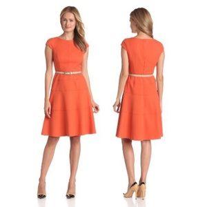 Anne Klein Orange Cap Sleeve Dress Size 8